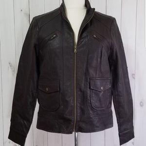 Style & Co Dark Brown Faux Leather Jacket M